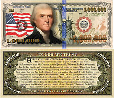 Thomas Jefferson Million Dollar Bill Fake Funny Money Novelty Note Gospel Tract