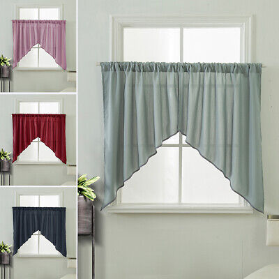 2x Plain Solid Opaque Triangle Short Curtain Kitchen Cafe Curtains Valance Swag Ebay