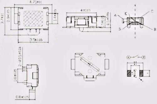 L109-5 Stk Mini-Taster  Mikrotaster  Eingabetaster 4,7x3,7x1,5 mm MP3-4 Tablet