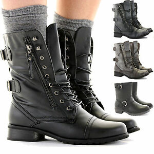 LADIES WOMENS COMBAT ARMY MILITARY BIKER FLAT LACE UP WORKER ANKLE ...