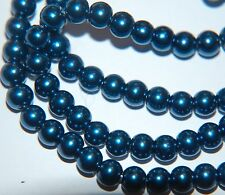 BARGAIN ~ 1 Strand Round PEARL GLASS Beads ~ 6mm ~ PEACOCK BLUE ~ 75 beads