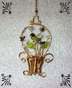 Handcrafted-Copper-Rose-Gold-Basket-Of-Flowers-Fan-Pull-Made-With-Swarovski