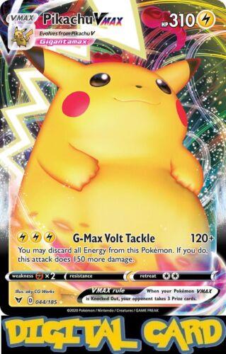 Pikachu Vmax 44//185 Vivid Voltage PTCGO Pokemon TCG Online Digital Card