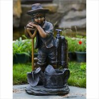 Jeco Boy With Bib Tap Water Fountain Transitional Garden Sculpture on sale