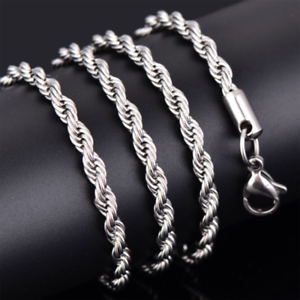 Gold-Color-Twist-Chain-Necklace-Stainless-Steel-Women-039-s-Men-Rope-Chain-Necklace