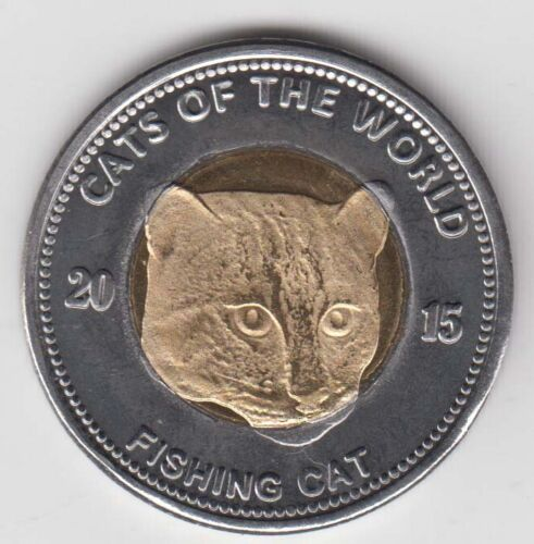 Fishing cat PUNTLAND 25 Shillings 2015 Cat Cats bimetal unusual coinage