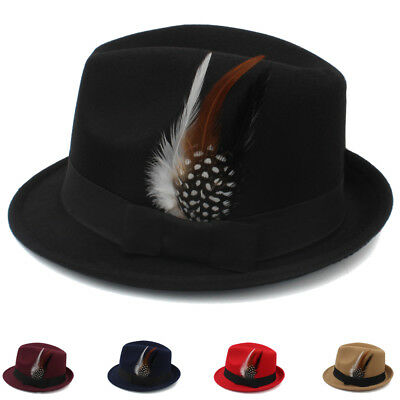 Men Women Solid Felt Fedora Hat Trilby Cap Jazz Sunhat Gangster Adjustable Size