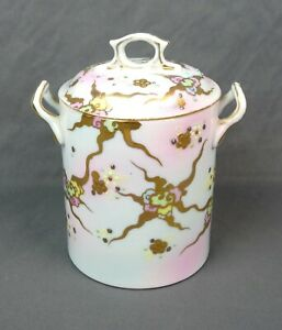 Antique-Porcelain-Jar-With-Lid-Condensed-Milk-Hand-Painted-Gold-Trim-Marked