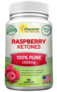 aSquared Nutrition 100% Natural Raspberry Ketones - 1000mg - 180 Capsules