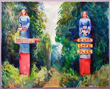 Ilsenburg Harz Café Ilse Holzfiguren Aquarell 1933 Paul Groß (1873-1942 Dresden)