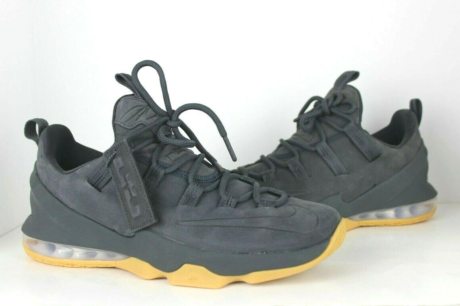 Nike Lebron XIII Low PRM Anthracite Dark Grey Suede Gum AH8289-001 Men's 8-9.5