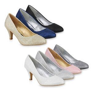 Damen-Klassische-Pumps-Glitzer-Stiletto-Mid-Heels-Party-820293-Schuhe