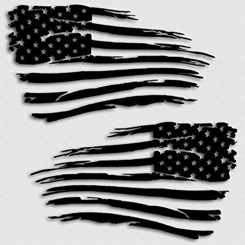 """Glossy Black 15/"""" x 27/"""" V2 Set of 2 pc American Flag Decal Distressed Military"""