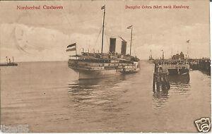 Cuxhaven-Schiff-Dampfer-Cobra-faehrt-nach-Hamburg-Ak-von-1914-Marine-Feldpost
