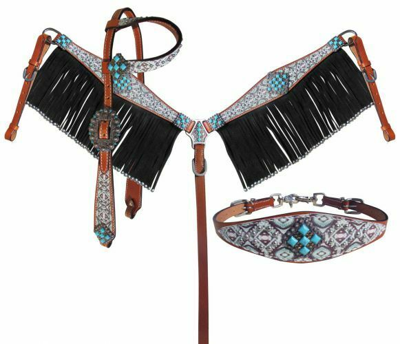 Showman Light TEAL Southwest One Ear Bridle Breast Collar Wither Strap Reins SET