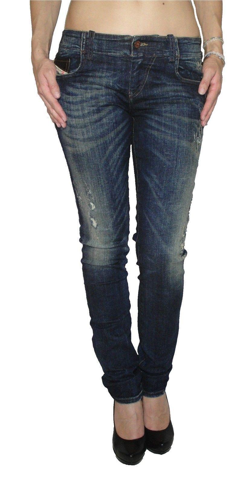 DIESEL Donna Jeans Stretch GRUPEE 0661s SuperSlim Skinny Blu Blu Blu Nuovo 69db0d