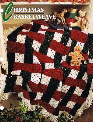 Christmas Basketweave  Annie's Attic Crochet Afghan Pattern Instructions