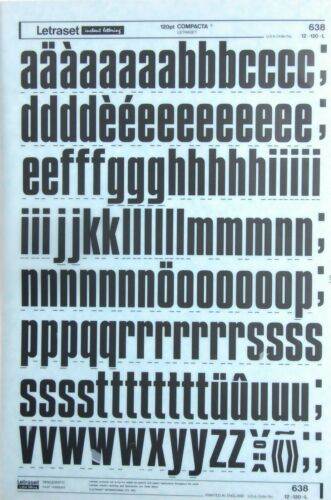 34.6mm LETRASET Rub On Letter Transfers 120pt COMPACTA #638