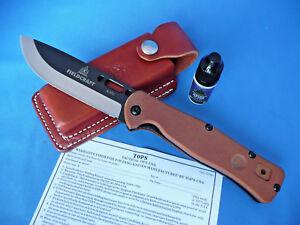 TOPS-Fieldcraft-Folder-Folding-Knife-w-Pocket-Clip-amp-Sheath-Tan-Canvas-Micarta