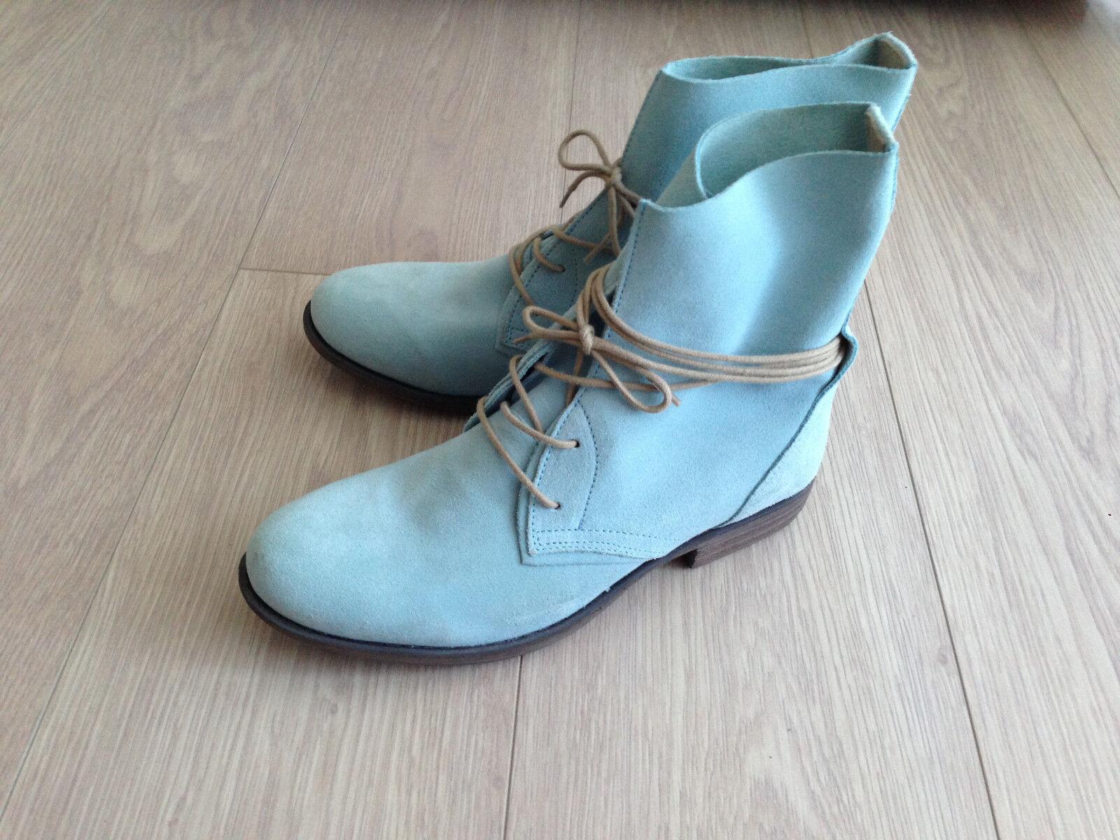 Post Xchange Stiefel Stiefel Schnürstiefeletten hellblau Echtleder Gr. 39