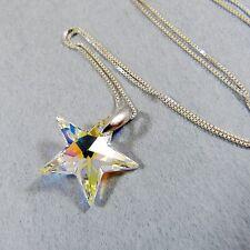 925 Argent Sterling Collier Cristal Élément Swarovski Pendentif Étoile