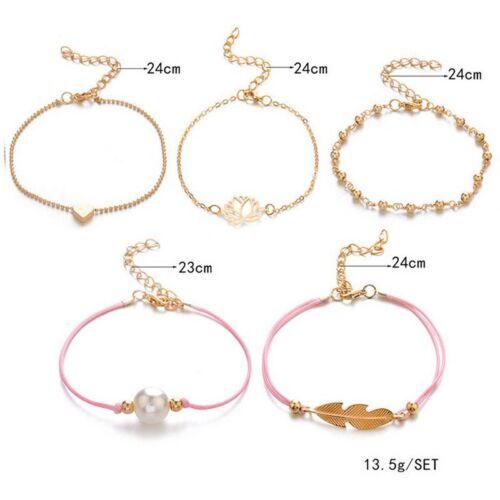3//4//5pcs Fashion Boho Femmes Plaqué Or Amour Coeur Bracelet Jewelry Cuff Bangle