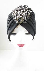 Black Gold Feather Headpiece 1920s Headband Flapper Great Gatsby Vintage 5143