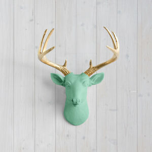 Wall charmers mint mini deer gold antler faux head for Fake deer antlers for crafts