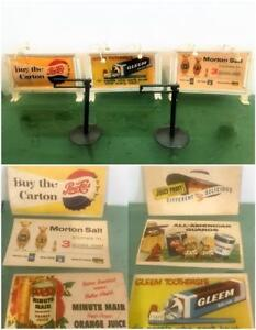 Miniature-Vtg-HO-amp-O-Model-Scale-1956-Billboard-Kellogg-Premium-Lot-3-Double-Ads