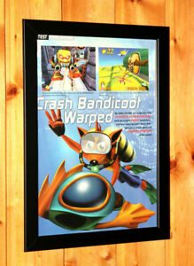 Crash-Bandicoot-3-Warped-PS1-PSX-Vintage-Small-Poster-Ad-Art-Framed-Retro