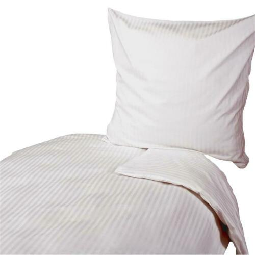 Damast Bettwäsche 135x200 80x80 cm Streifen 10 mm Weiß Baumwolle Bettwäsche