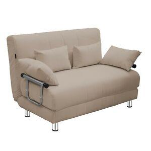 Divano letto 2 in 1 a due posti in acciaio e tessuto colore crema con 4 cuscini