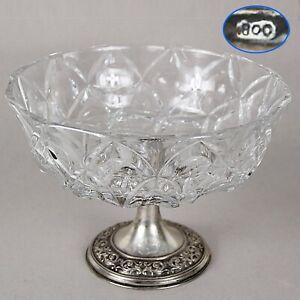 Antica-Alzata-centrotavola-in-argento-800-e-cristallo-molato-fruttiera-alzatina