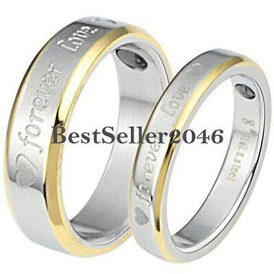 "Stainless Steel "" Forever Love "" Engraved Heart Promise Ring Wedding Band"