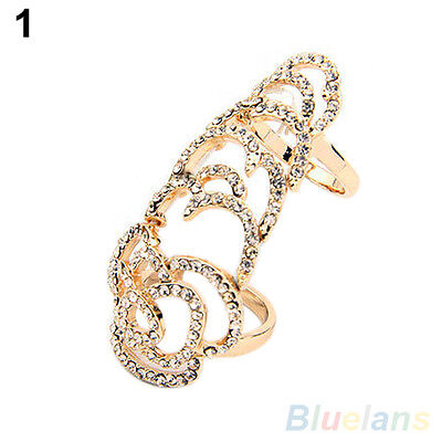 Hot Punk Style Silver Golden Plated Joint Knuckle Crystal Finger Ring Band