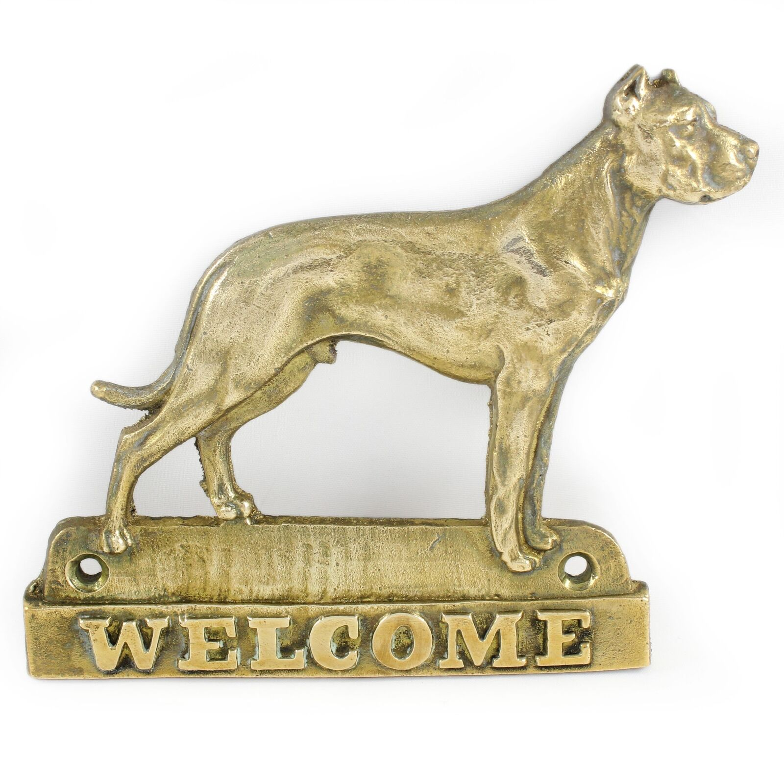 Dogo silverino - brass tablet with image of a dog, Art Dog