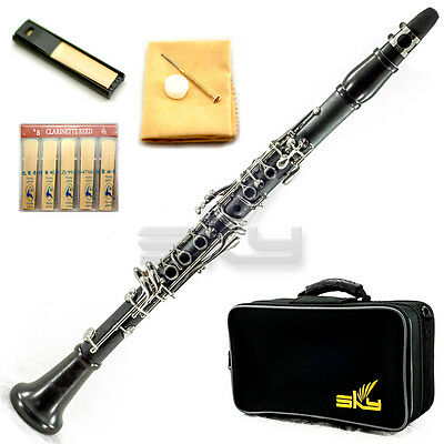 New High Quality Bb Clarinet Package Nickle Silver Keys w Ebony Neck and Bell