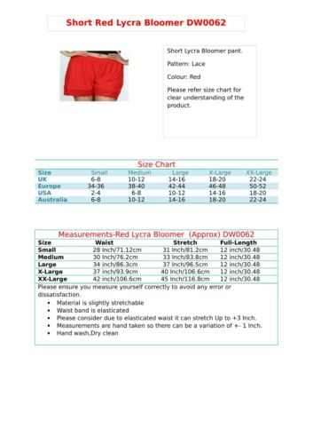 Shorts Hot Pants Women/'s Girls Ladies Red Hem Lace Hot Short Nightwear 062