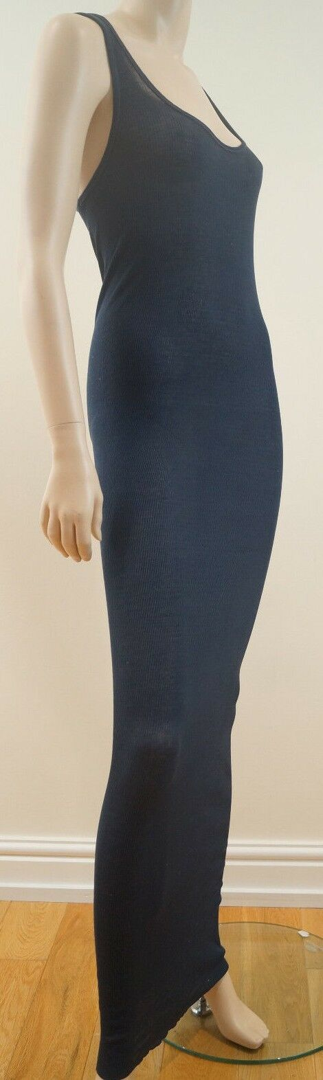 PINKO SKIN Navy bluee 100% Cotton Ribbed Long Length Sheer Fitted Maxi Dress Sz L