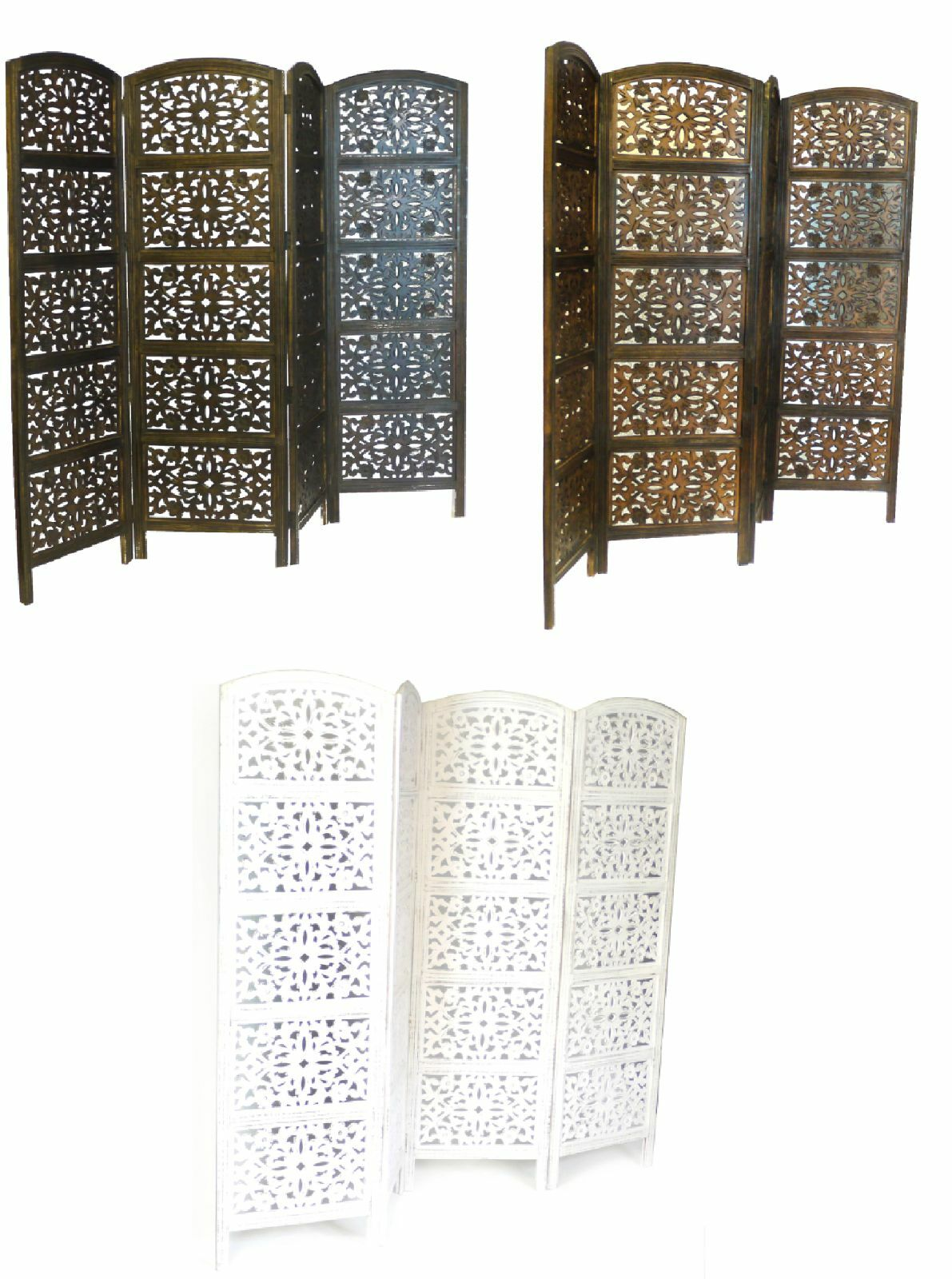 4 Panel Carved Heavy Duty Indian Screen Wooden Flower Design Screen Room Divider
