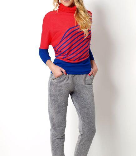 Damen Pullover Pulli mit Rollkragen Feinstrick Herbst Winter gestreift S 34 36