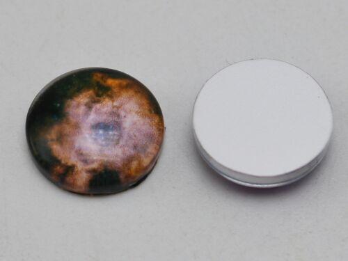 50 Pcs 12mm Photo Image Galaxy Flatback Round Glass Cabochon Dome Back Cover