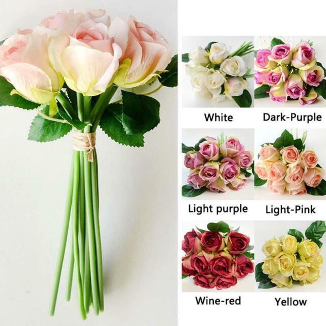 1 Bunch 9 Heads Artifical Silk Rose Flowers Bouquet Wedding Home Party Decor