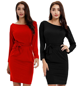 Women-039-s-Bandage-Long-Sleeve-Solid-O-Neck-Belt-Bow-Bodycon-Xmas-Party-Dress-S-2XL