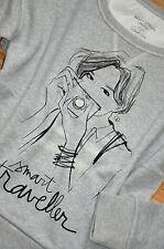 MARC O'POLO Langarm Sweatshirt Shirt Gr. L 40 / 42 neu Grau mit Motiv