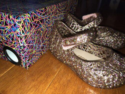 Mini Melissa Campana Zig Zag Mixed Pink Glitter Mary Jane Toddler Shoes 5 New