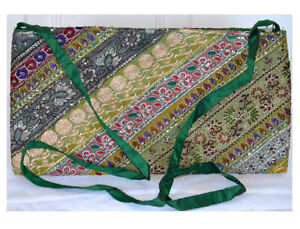Green-Color-Hand-Embroidered-Borders-Shoulder-Cross-Body-Bag-Silk-From-India