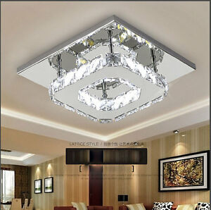 premium selection fe2a2 d7ce9 Details about Modern Square 20cm 12W LED Crystal Ceiling lights chandeliers  Aisle light H501HC