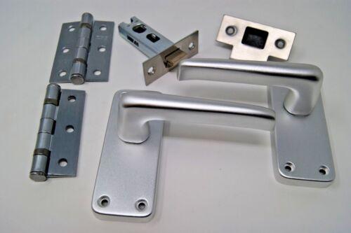 Contrat de levier poignée de porte loquet ensemble sur satin Aluminium plaque arrière avec charnières