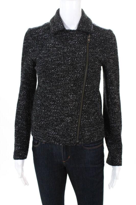 J Crew Womens Long Sleeve Zip Up Collared Zipper Cuff Motorcyle Jacket Size 2